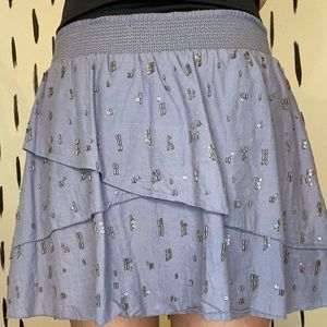 american eagle grey beaded miniskirt with layers